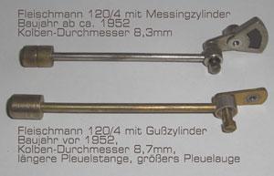 Vergleich Pleuel und Kolben 120/4