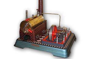 Die komplett restaurierte Dampfmaschine Fleischmann 120/4 mit 2-Zylinder-Aggregat