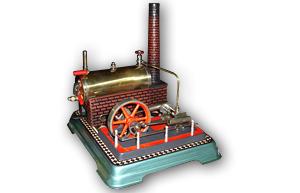Die komplett restaurierte Dampfmaschine Fleischmann 120/4 mit 2-Zylinder-AggregatDie komplett restaurierte Dampfmaschine Fleischmann 120/4 mit 2-Zylinder-Aggregat