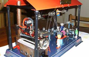 Die Dampfmaschine in Betrieb