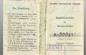 originaler Registrierschein außen 1975