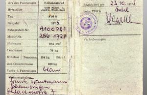 originaler Registrierschein innen 1975